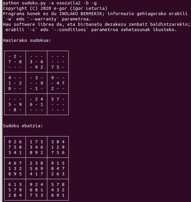 Sudokuak ebazteko programa