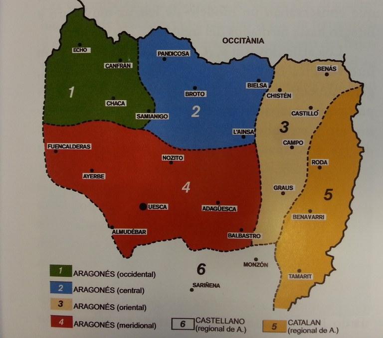 Aragoieraren dialektoen mapa